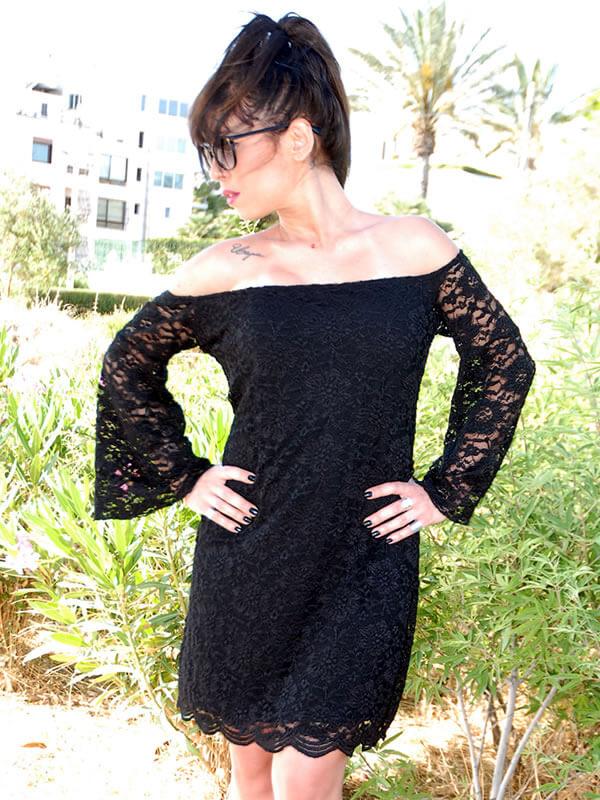 Φόρεμα Μίνι Δαντέλα με Ελεύθερους Ώμους - Μαύρο 242cca1f3e0