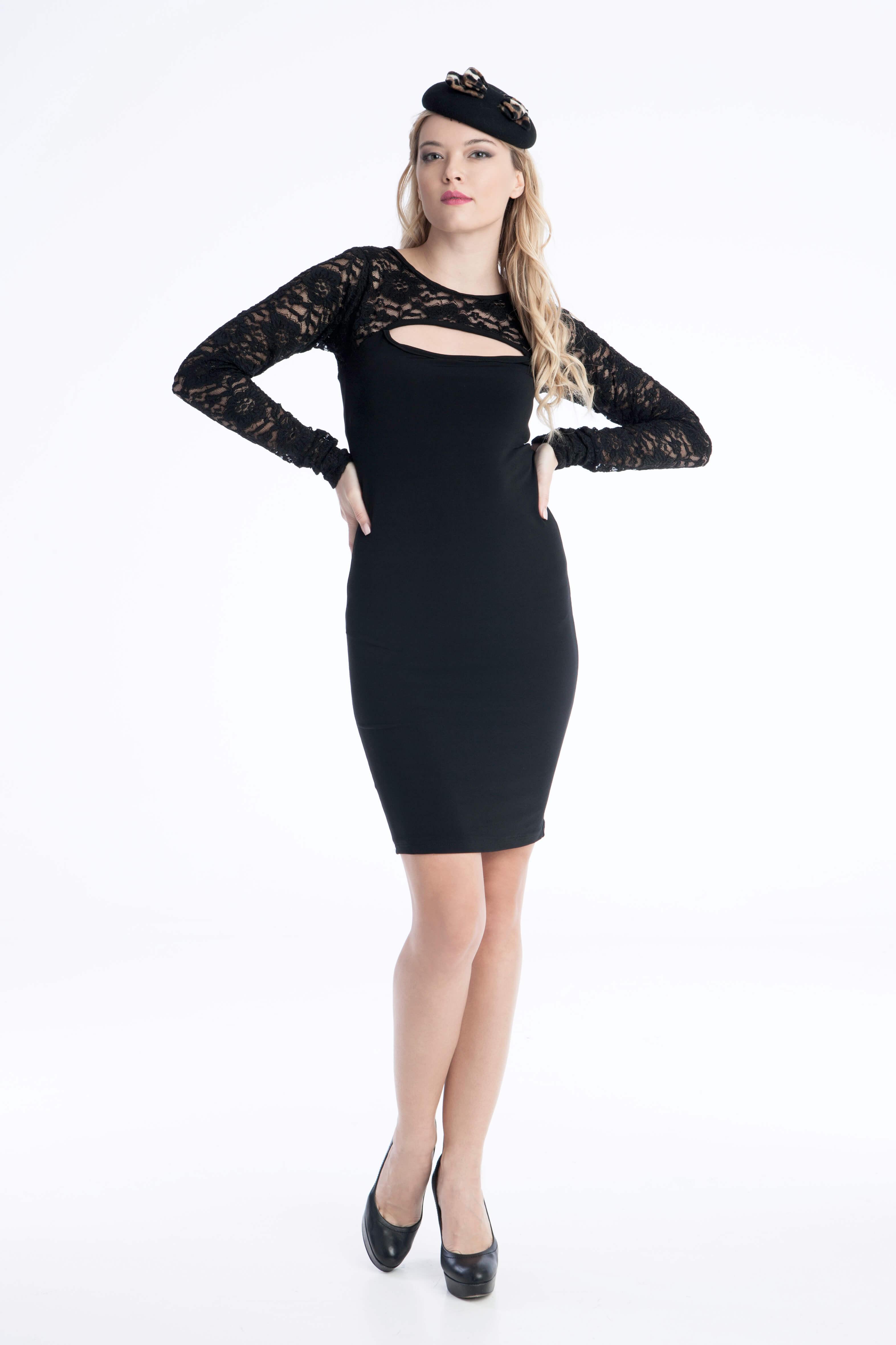 Φόρεμα Μίνι με Sexy Βαθύ Ντεκολτέ και Δαντέλα - Μαύρο 37edead2bd3
