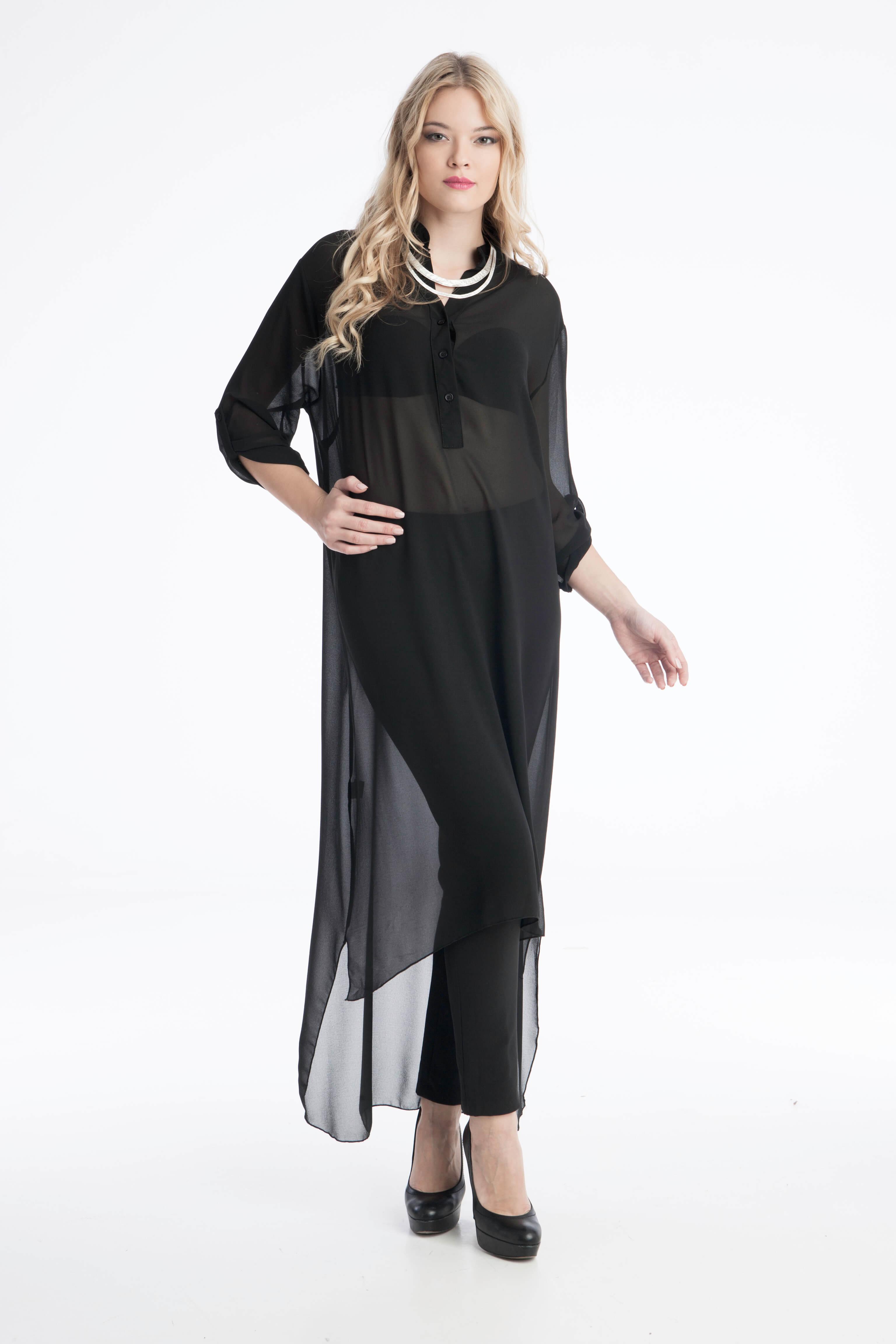 51c9843039a6 Γυναικείο Τούνικ Μακρύ Διάφανο - Μαύρο - Prestige Fashion