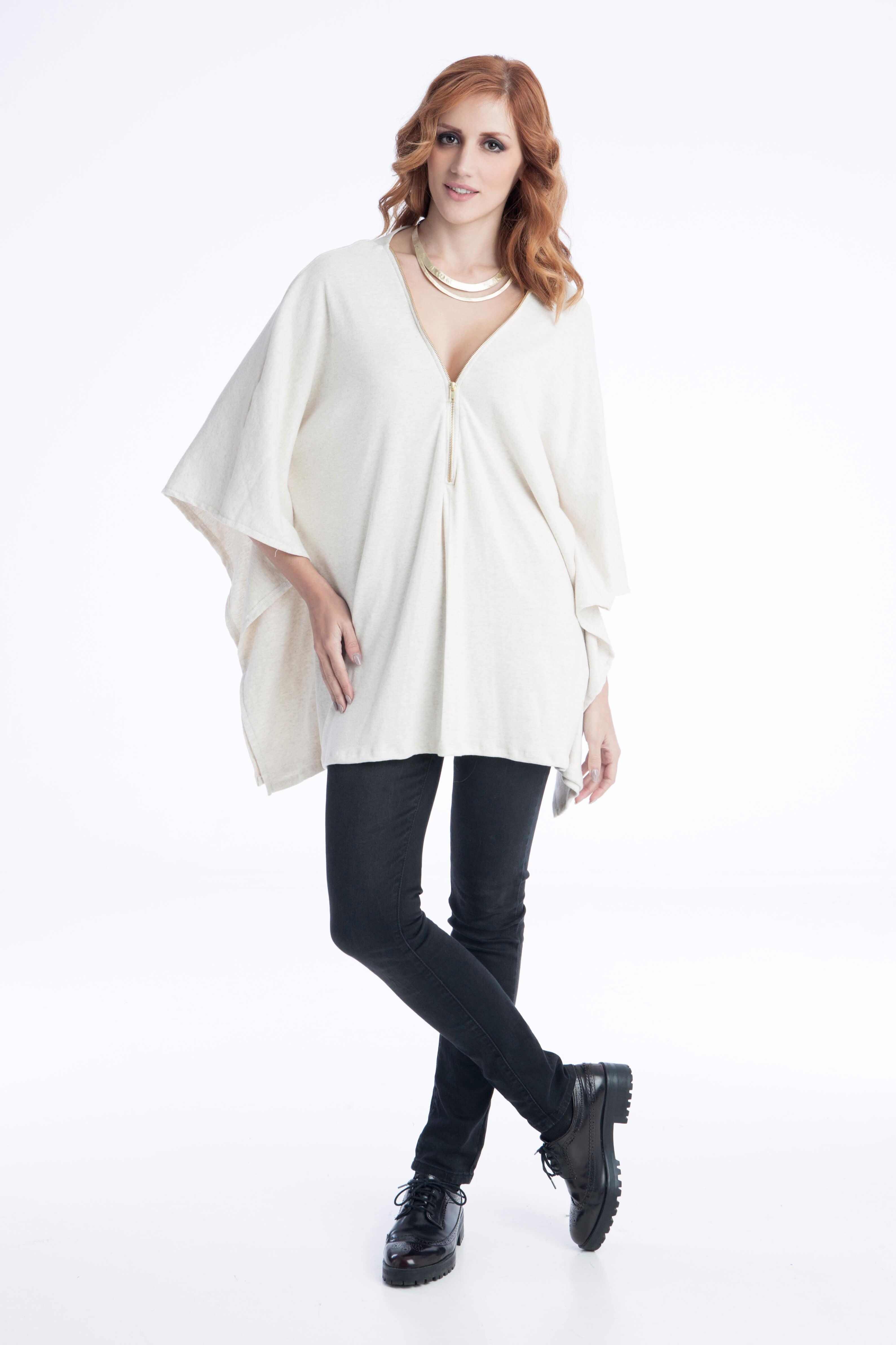 Γυναικεία Μπλούζα Ριχτή με Φερμουάρ - Λευκή - Prestige Fashion 598e18aefa7
