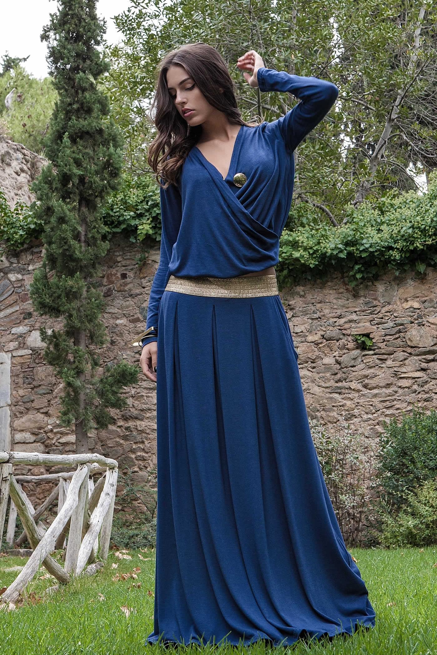 0579c587312 Γυναικεία πλεκτή μπλούζα κρουαζέ μαζί με το αξεσουάρ, ξεχωριστά η φούστα - Prestige  Fashion