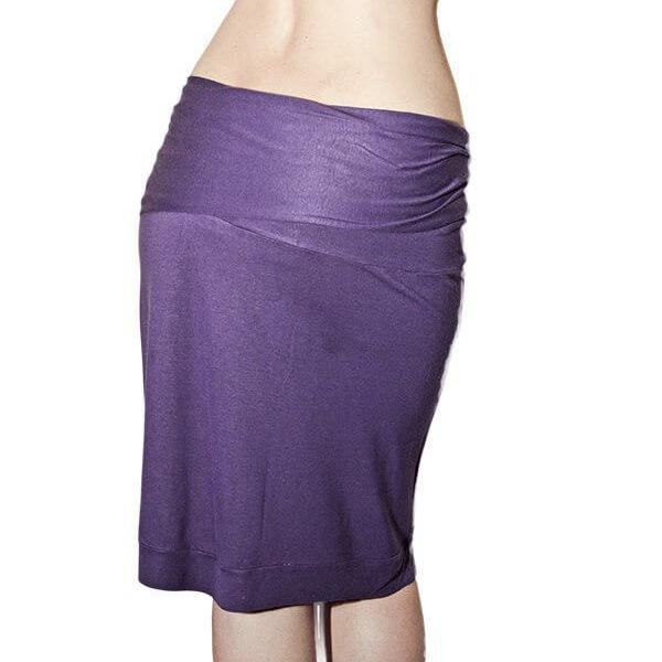 Φούστα Μίντι με Ζώνη Λύκρα Βισκόζη - Μωβ