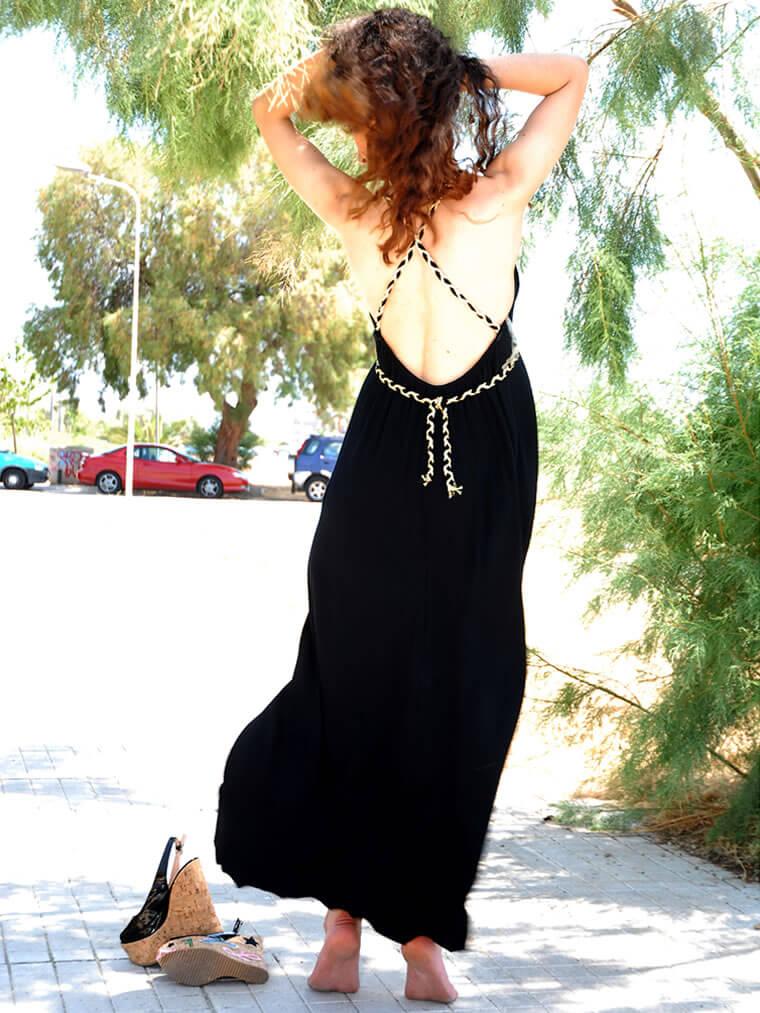 Φόρεμα Maxi Εξώπλατο με Χρυσές Λεπτομέρειες - Μαυρο