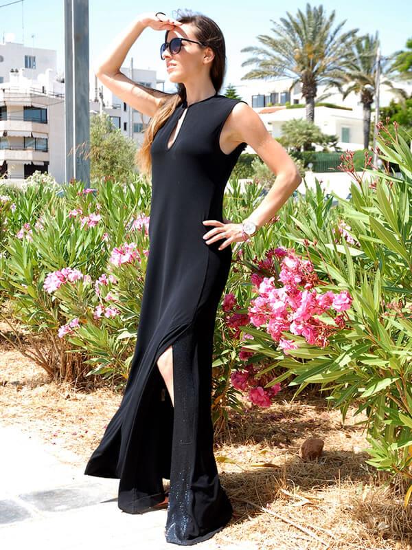 Φόρεμα Maxi με Άνοιγμα στο Πόδι - Μαύρο
