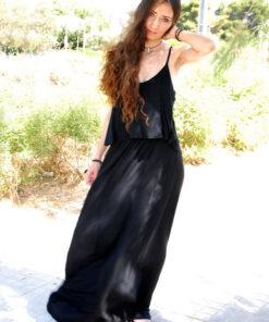 Φόρεμα Maxi με Τιραντάκι Διπλό Ύφασμα - Μαύρο