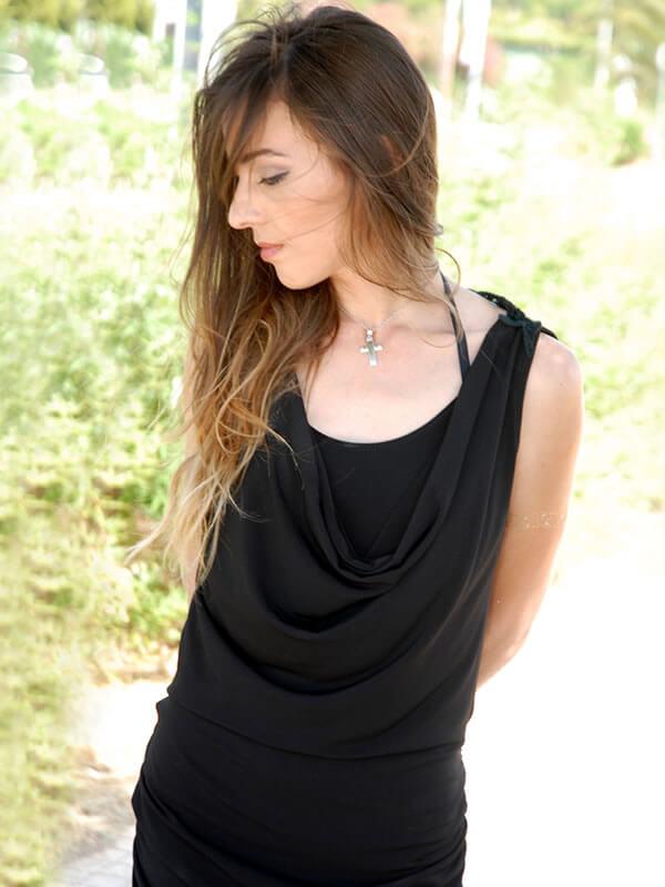 Φόρεμα Μίνι με Δαντέλα στην Πλάτη - Μαύρο