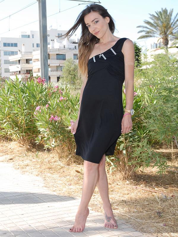 Φόρεμα Ενός Ώμου με Στρας Μπροστά - Μαύρο