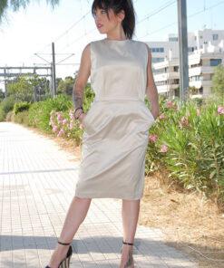 Φόρεμα Σατέν Σταθερό Ύψος Γόνατο