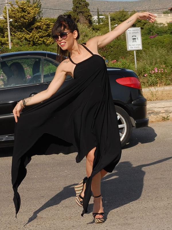 Φόρεμα Ασύμμετρο Ραντάκι Πολύ Άνετο - Μαύρο