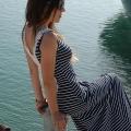 Φόρεμα Maxi Ριγέ με Χειροποίητη Δαντέλα – Ρίγα Λευκή/Μπλέ
