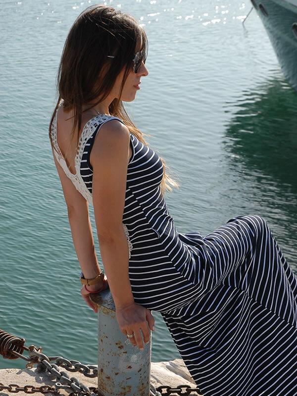 Φόρεμα Maxi Ριγέ με Χειροποίητη Δαντέλα - Ρίγα Λευκή/Μπλέ