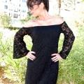 Φόρεμα Μίνι Δαντέλα με Ελεύθερους Ώμους - Μαύρο