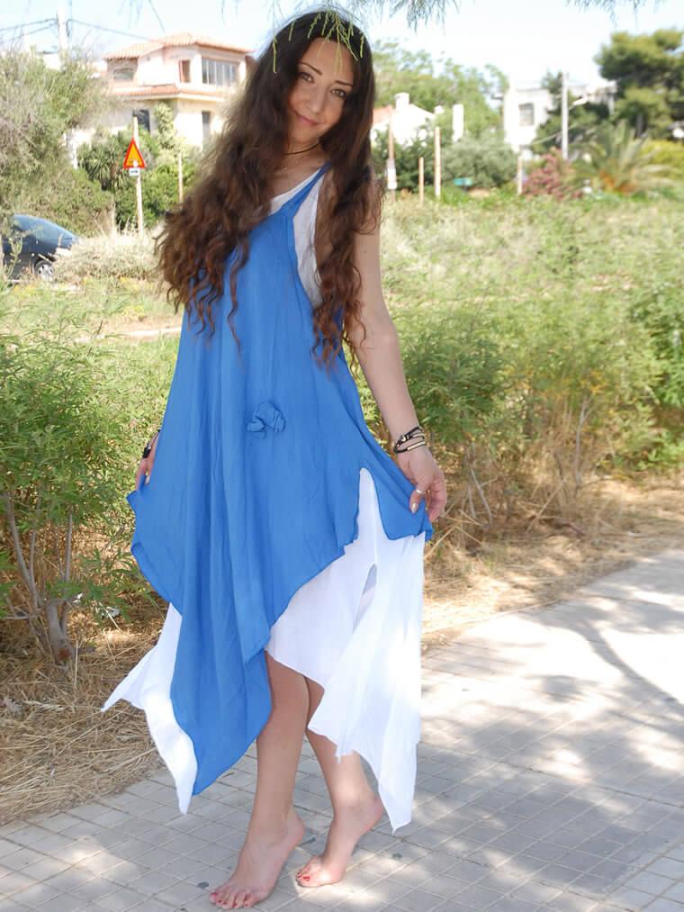 Φόρεμα Ασύμμετρο Ραντάκι με Διπλό Ύφασμα