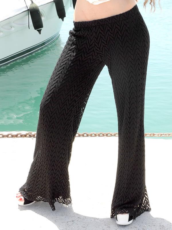 Φαρδιά Παντελόνα Δαντέλα με Λάστιχο - Μαύρο