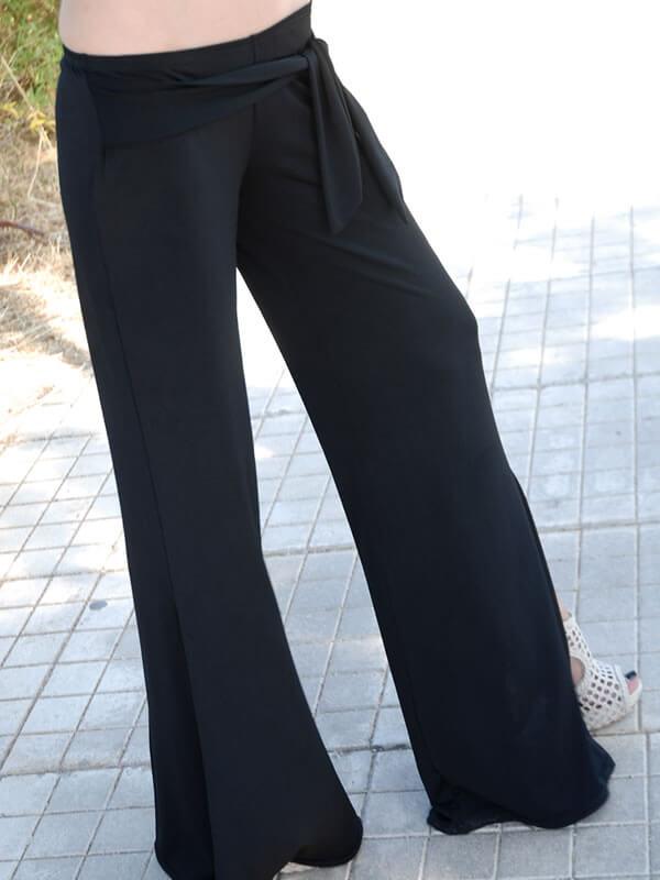 Παντελόνα Χαμηλοκάβαλη με Δέσιμο στην Μέση - Μαύρη