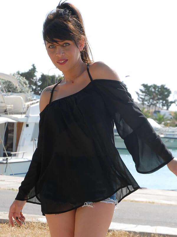 Μπλούζα Εξώπλατη Διάφανη με Φαρδύ Μανίκι