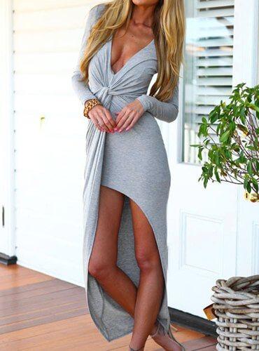 μάκρη φόρεμα με άνοιγμα μπροστά