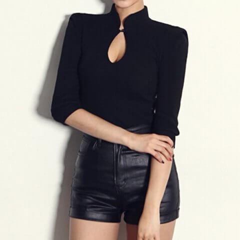 Γυναίκεια μπλούζα με γιακά όρθιο