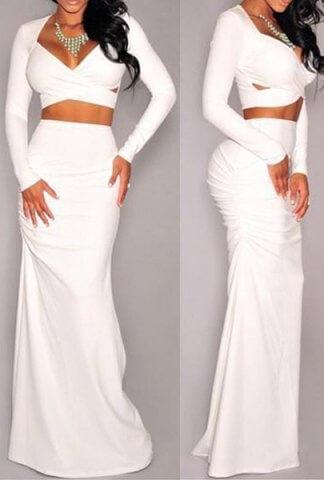Σετ Φούστα Maxi Άσπρη με Sexy Τοπ Μπλούζα 091c7355c53