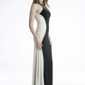 Φόρεμα Maxi Αμάνικο με Διχρωμία Εκρου/Μαύρου