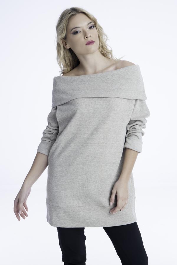 Γυναίκεια μπλούζα με ντραπέ λαιμό