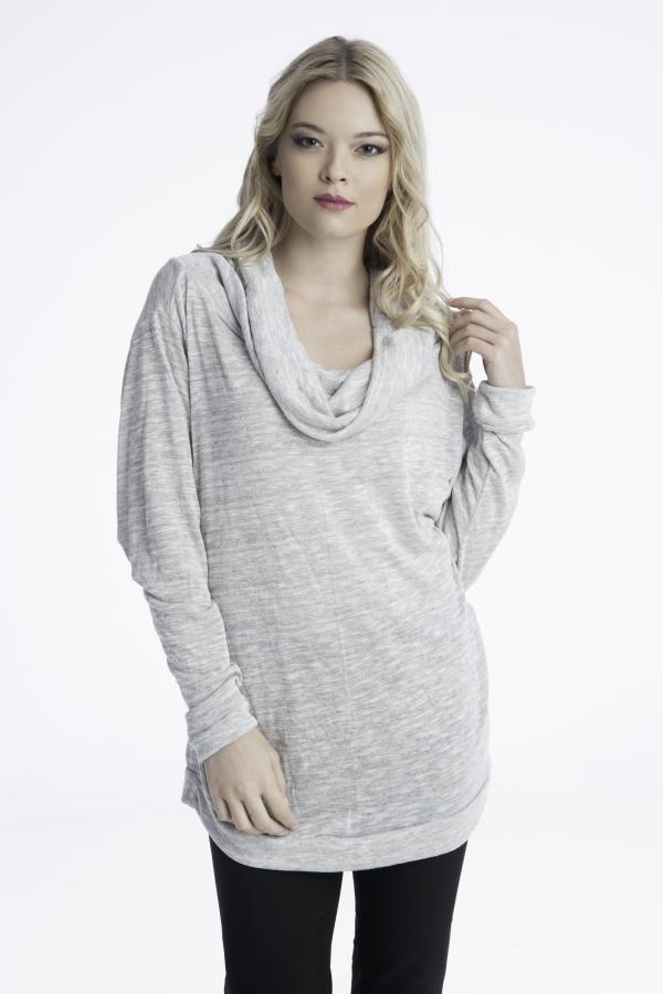 Γυναίκεια πλεχτή μπλούζα με ντραπέ λαιμό