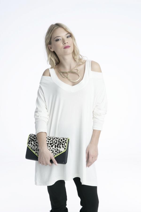 Γυναικείο μπλουζοφόρεμα λευκό