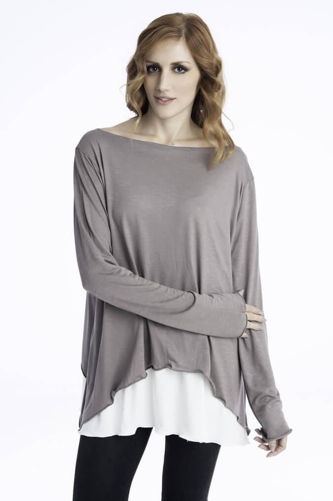 Γυναικεία Μπλούζα Ριχτή Ασύμμετρη - Δίχρωμη