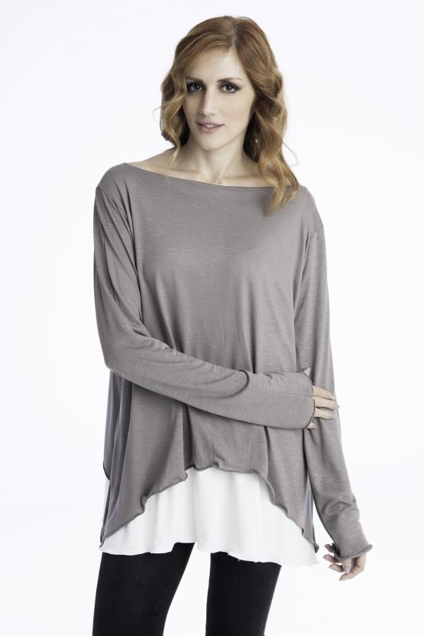 Γυναικεία ριχτή μπλούζα δίχρωμη