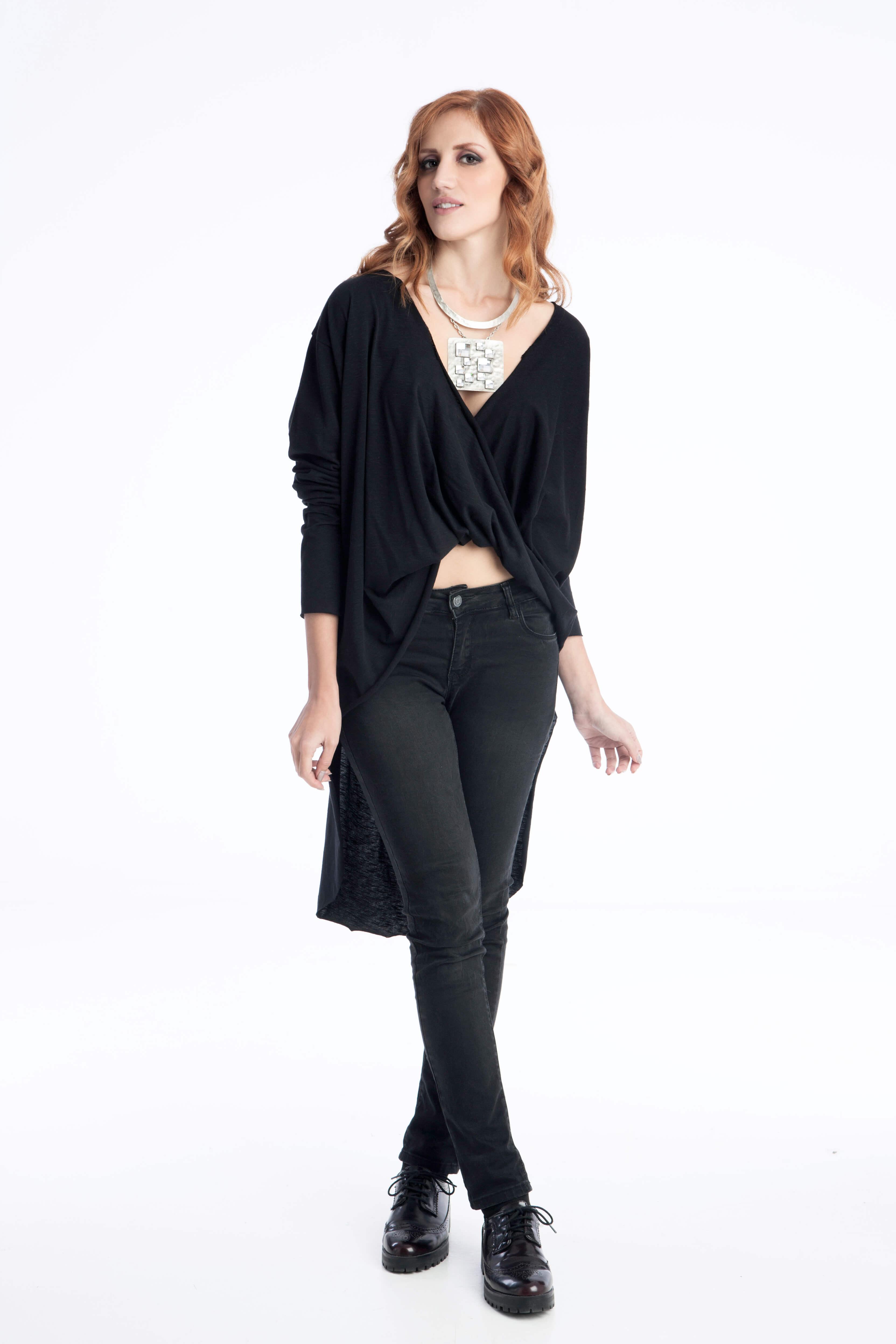 Γυναικεία Μπλούζα Ασύμμετρη με Μανίκια - Prestige Fashion 389bea04d77