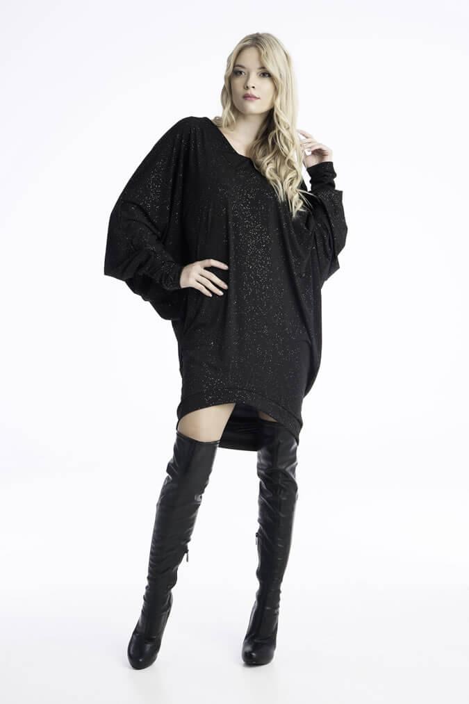 Φόρεμα Ριχτο με Στρας - Μαύρο