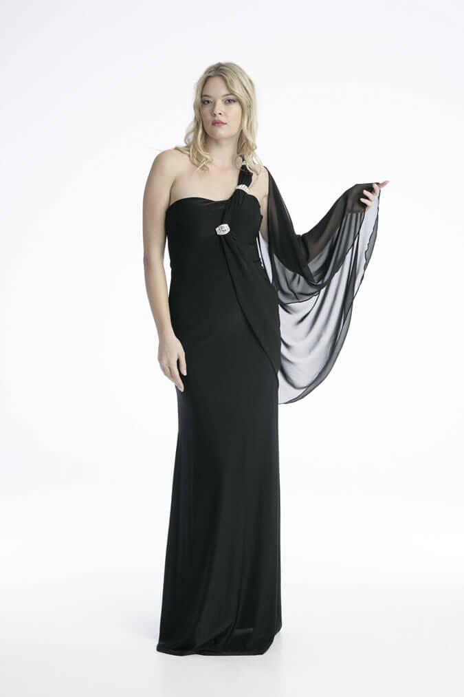 Φόρεμα Στράπλες Βραδινό - Μαύρο