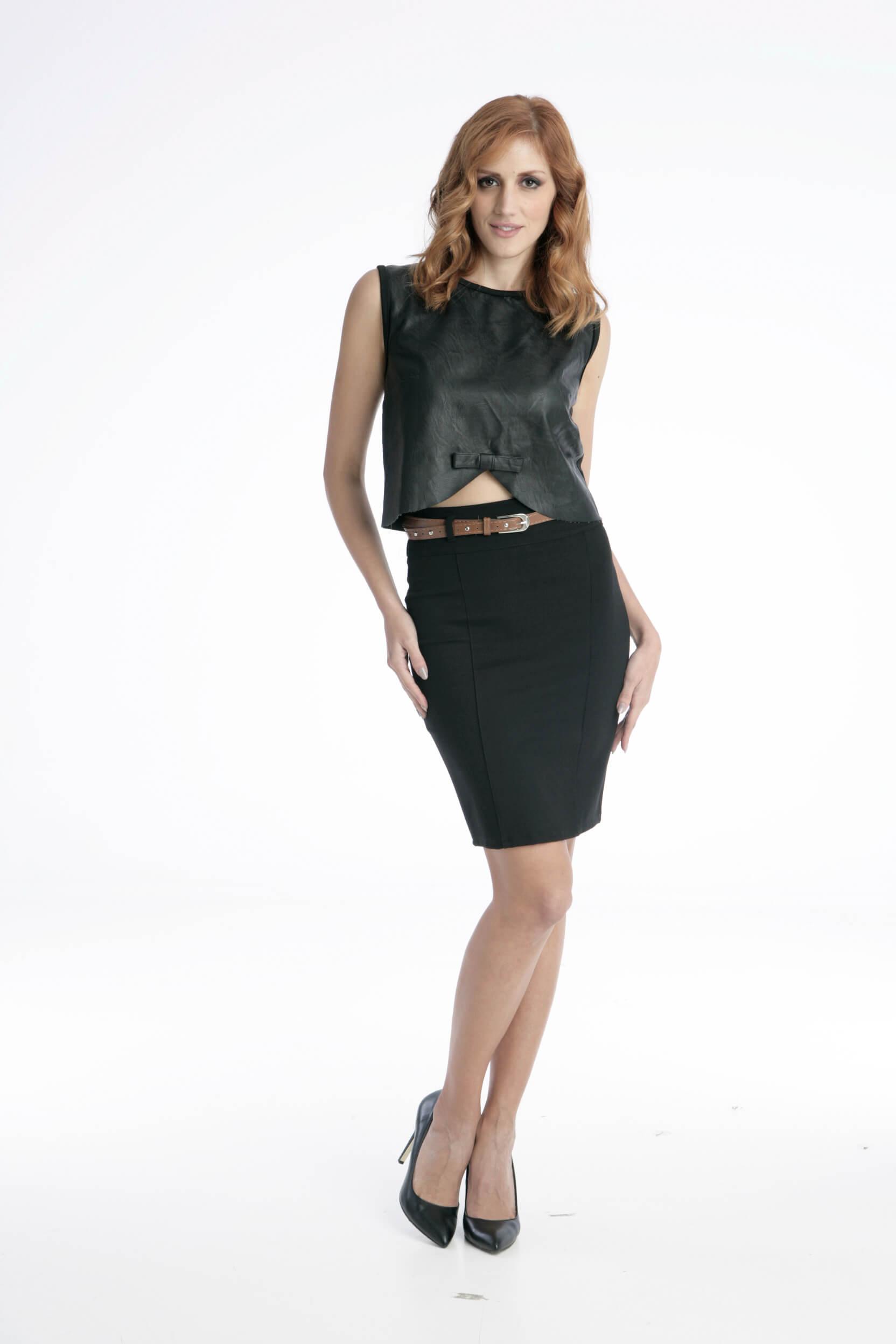 Στενή Φούστα Mini - Μαύρη - Prestige Fashion 28123f1d723