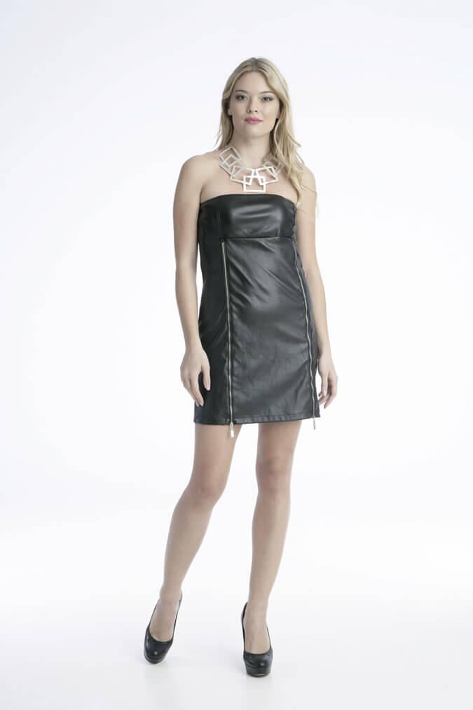 Φόρεμα Μίνι Στράπλες Δερμάτινο με Φερμουάρ