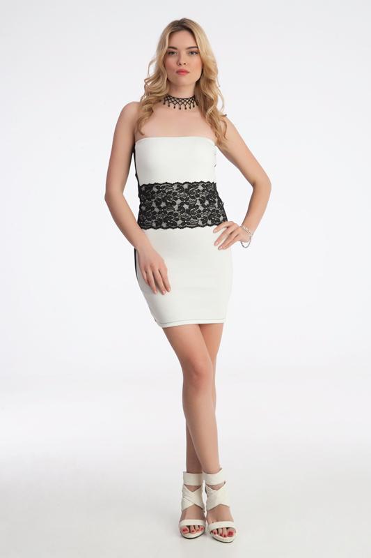 mini sexy φόρεμα άσπρο-μαυρο στη μέση ζώνη από νταντέλα