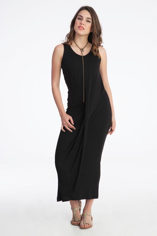 γυναικείο φόρεμα μακρύ με σούρα εμπρός.