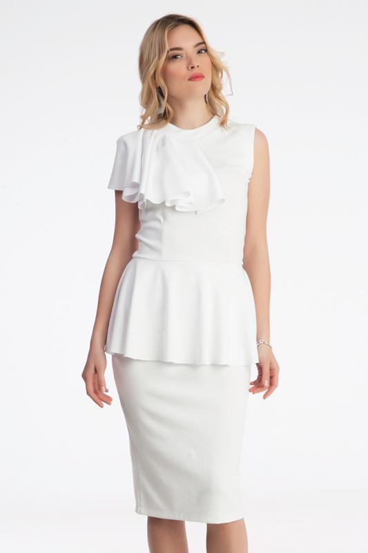 19f106b862a5 Γυναίκεια midi φόρεμα με βολάν στη μέση - Prestige Fashion