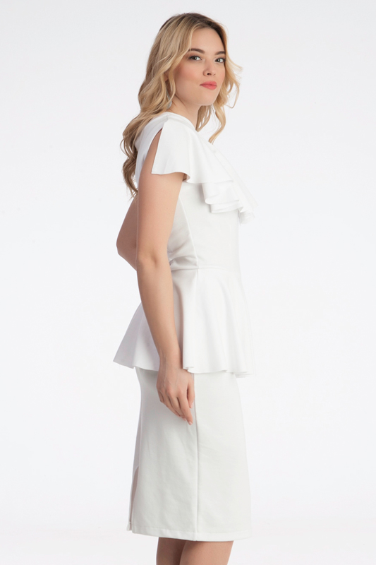 Γυναίκεια midi φόρεμα με βολάν στη μέση - Prestige Fashion 9d477711eef