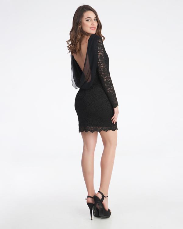 Γυναικείο βραδύνω φόρεμα μίνι με μανίκια εξώπλατο από νταντέλα
