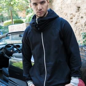 Αντρική ζακέτα σε στυλ μπουφάν με κουκούλα, φερμουάρ και τσέπες