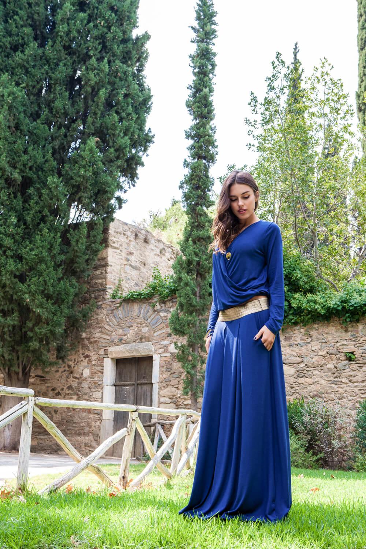 1278411584c9 Γυναίκεια πλεκτή φούστα με χρυσή μπάσκα από λάστιχο