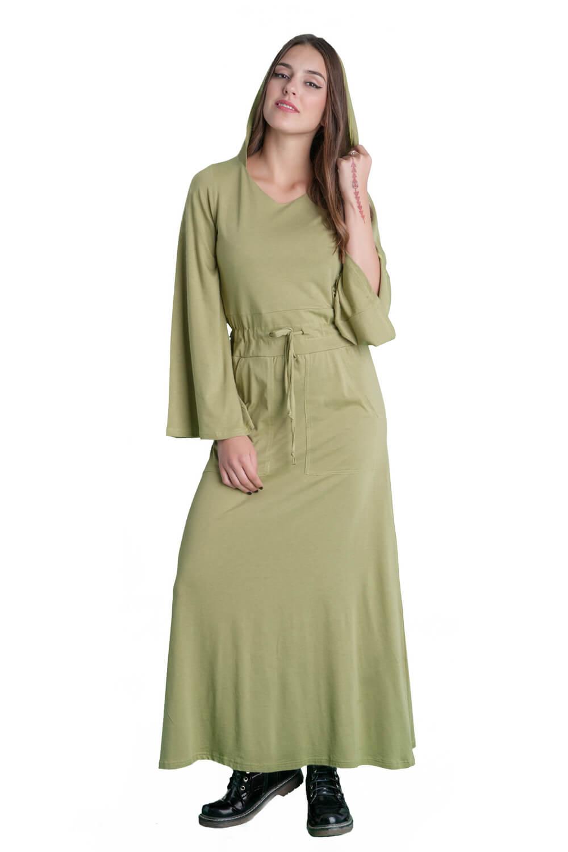 Γυναικείο φόρεμα με καμπάνα μανίκια, κουκούλα και τσέπες.