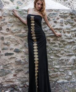 Γυναικείο φόρεμα maxi στράπλες με χρυσή λωρίδα μπροστά