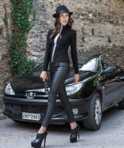 Σέξι δερμάτινο παντελόνι ελαστικό