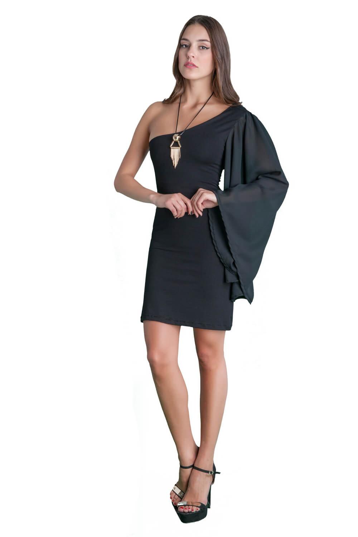 6209049d6025 Γυναικείο βραδύνω φόρεμα μίνι με ένα μανίκι καμπάνα από μουσελίνα ...