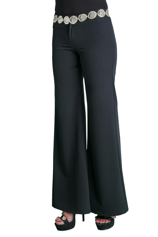 Γυναικείο παντελόνι με φερμουάρ μπροστα και ζώνη από μια χρυσή λωρίδα διακοσμητική